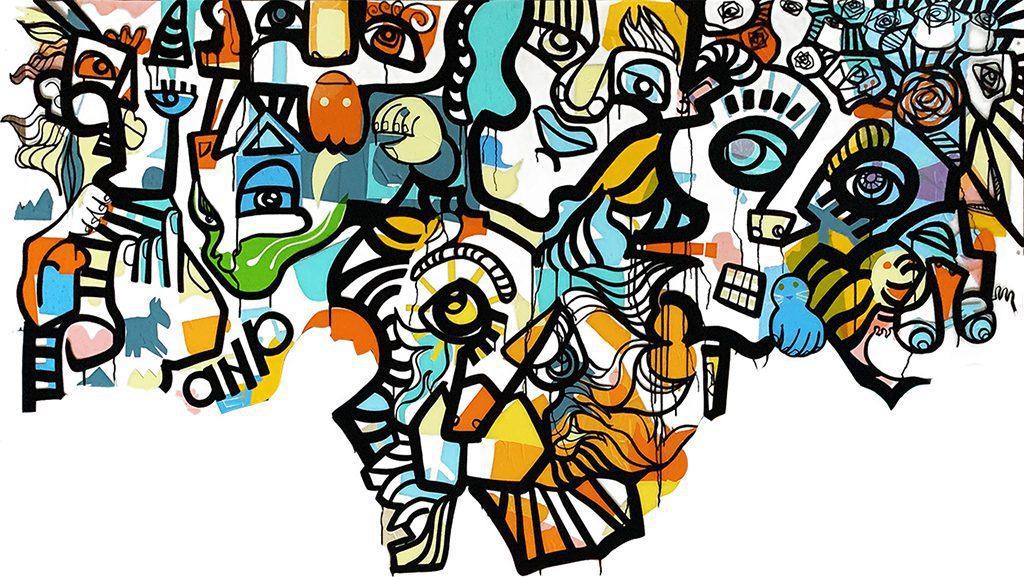 Artiste Live Painting : oeuvre d'art colorée de l'artiste aNa avec partie basse non finito exécutée sous forme de live painting participatif