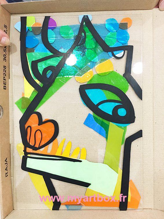 souvenir d'art contextuel : portrait onirique en couleurs et encre noire sur transparent par aNa Fernandes artiste d'art contextuel