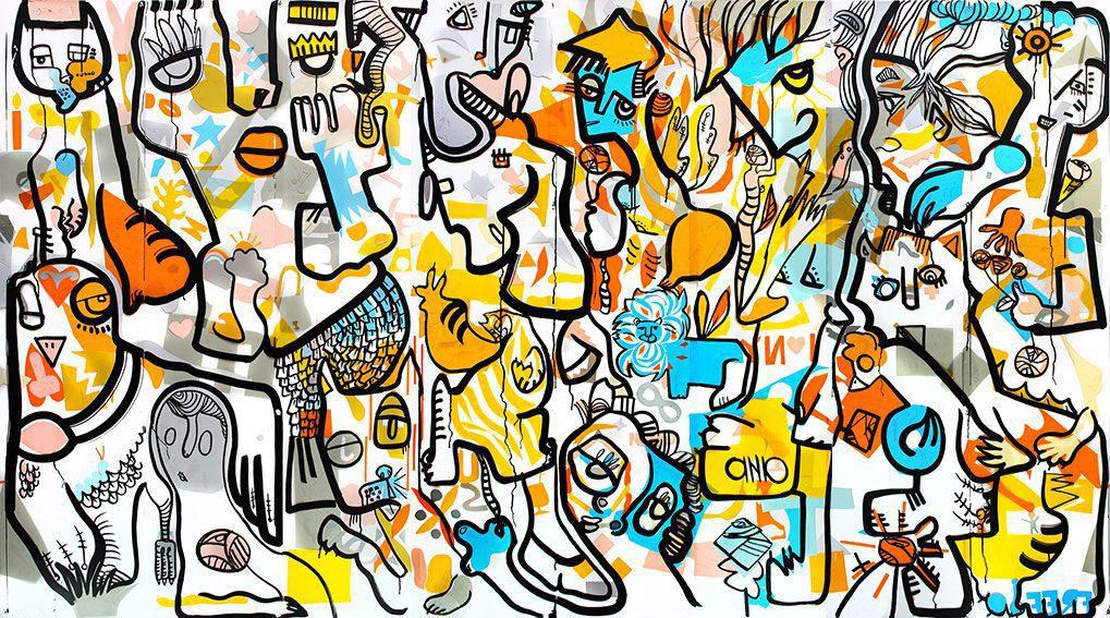 Fresque collectives colorée réalisée par l'artiste d'art contextuel aNa lors d'un team building artistique à NewYork Manhattan.