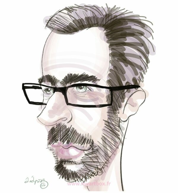 Caricature digitale d'un homme avec des lunette et une barbe brune et cheveux foncé sur fond blanc