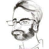 Photo d'une caricature digitale noir et blanc d'un homme à lunettes et avec une barbe faite en close up lors d'un cocktail à Lyon