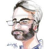 Photo d'une caricature digitale d'un homme à lunette avec bareb de 3 jours faite en couleur sur iPad Pro par le caricaturiste digital Christophe Chazot pour my art box en animation close up