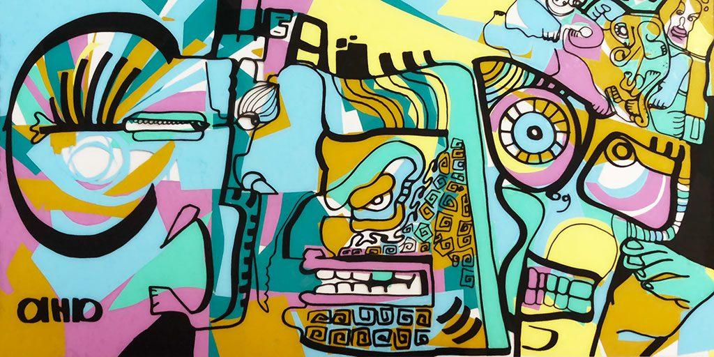 une illustration couleurs d'animation fresque de la ville de Dubaï