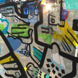 détail d'un dessin sur un tube double plexi art fresque graffiti par l'artiste aNa réalisé lors d'un team building tube à Lyon