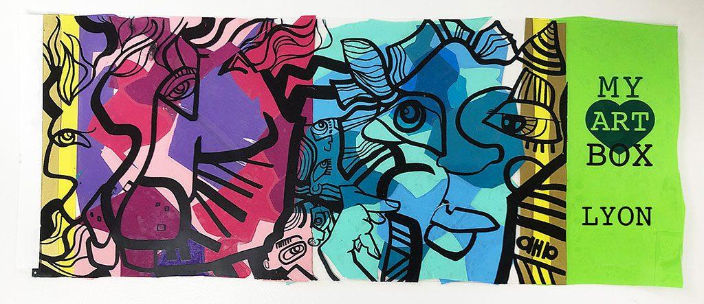 une image en couleurs de la fresque de la ville de Lyon Métropole par l'artiste aNa pour son protocole de développement territorial