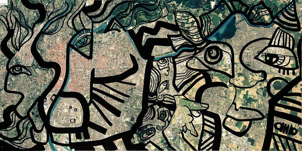 fresque noir et blanc sur plexi posée au dessus du plan google earth de la ville de Lyon