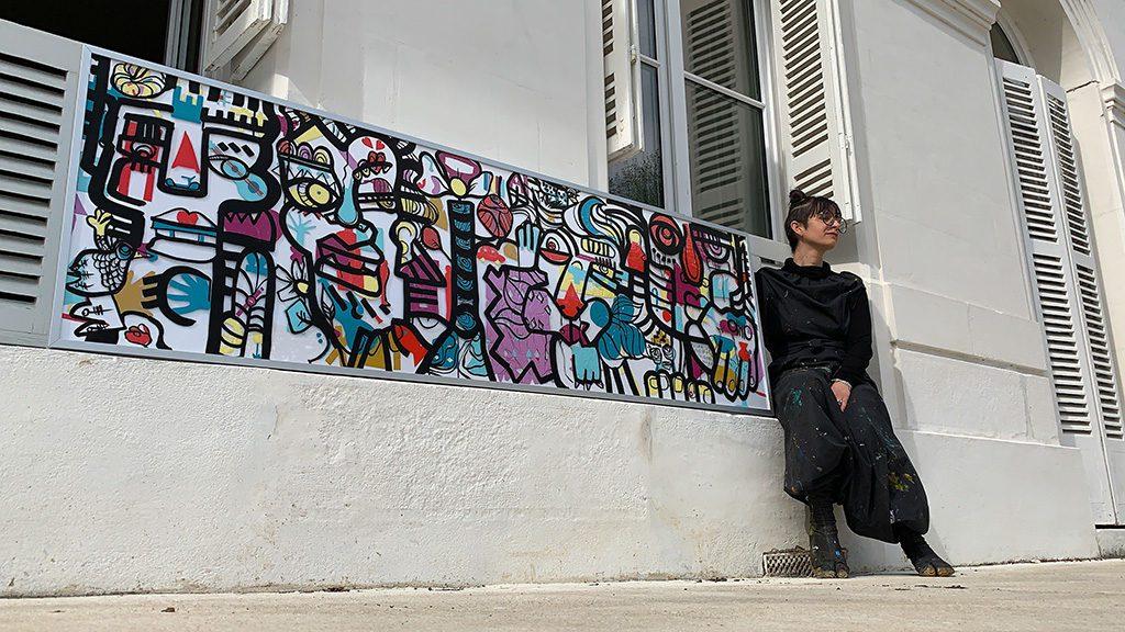 L'artiste aNa expose au salon préventica ce type de tableau fresque collective encadrée en aluminium