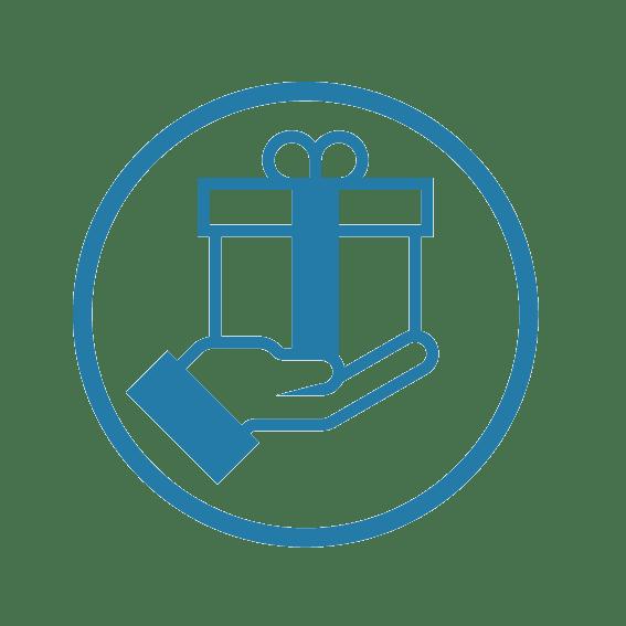 pictogramme dessin simplifié d'une main qui tend un cadeau pour évoquer le souvenir offert par une expérience ou un team building