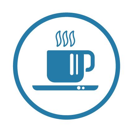 une tasse de café chaud fumant représente l'idée de la cohésion en entreprise sous forme de pictogramme simplifié