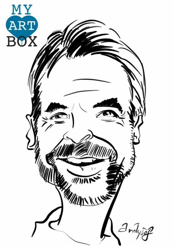Caricature d'après photo d'un homme avec barbe brune et arborant un très grand sourire