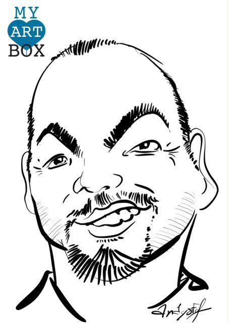Caricature d'après photo d'un homme portant un bouc et faisant un sourire en coin