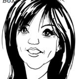 Caricature d'après photo noir et blanc d'une femme brune avec une coupe de cheveux dégradée