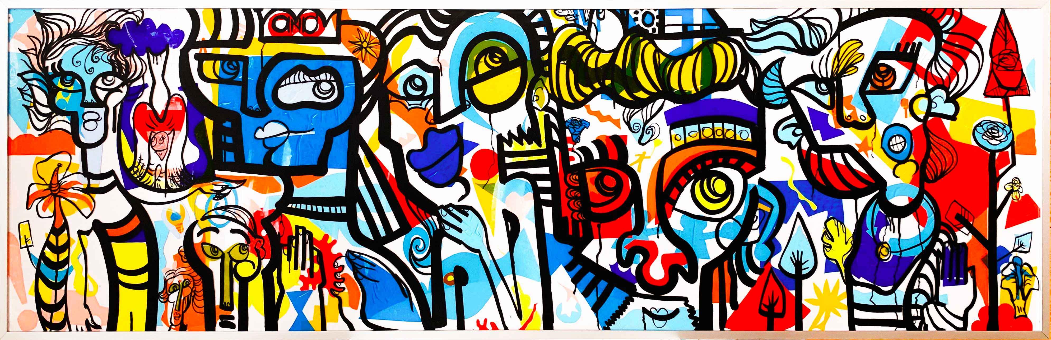 Exemple de fresque graffiti participatif par aNa artiste idée animation AG Lyon construite ensemble lors de l'assemblée générale 2019 au restaurant A la piscine de Lyon