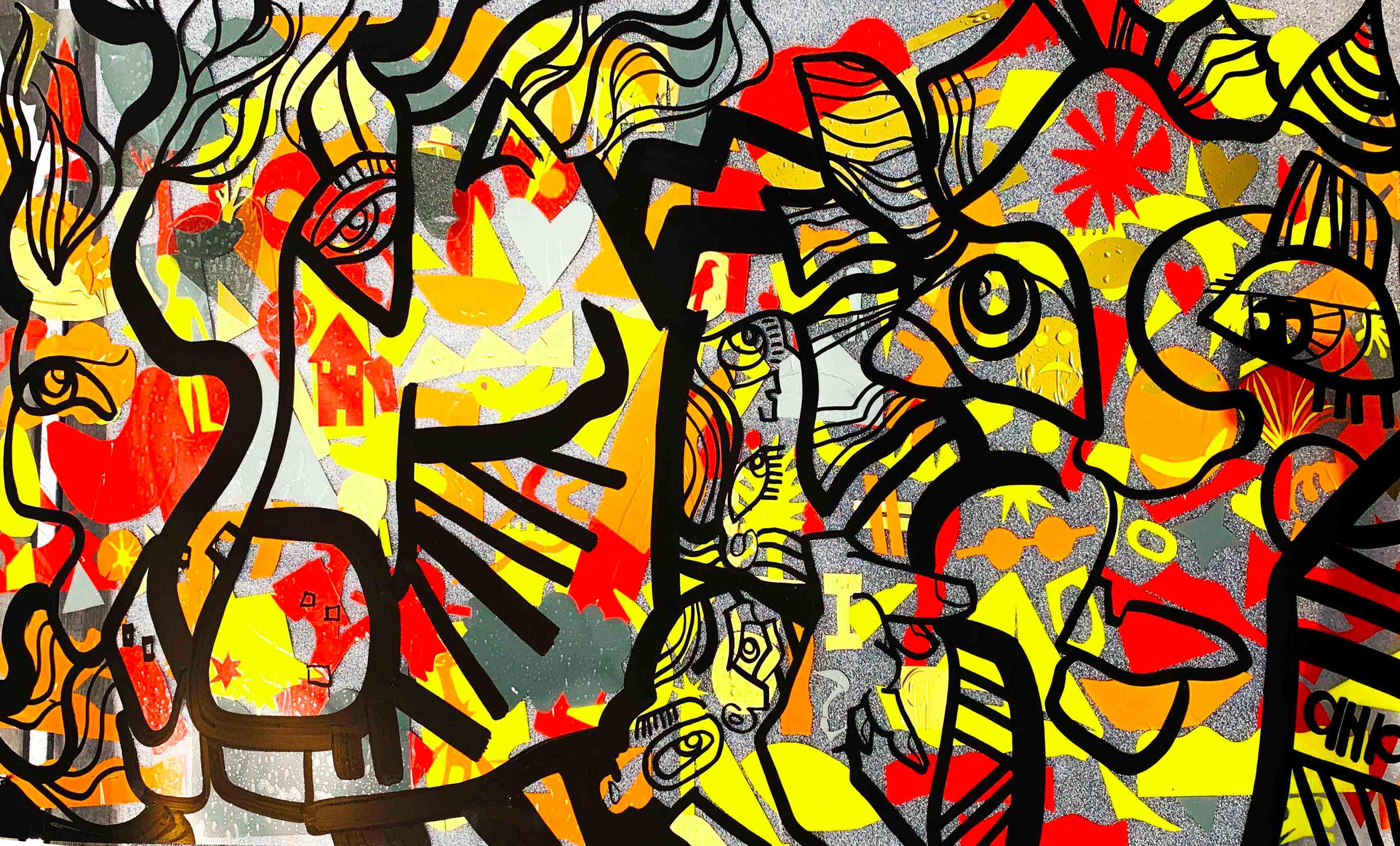 Graffiti collaboratif Team Building fresque Lyon format Totem Box réalisé sur le Roof Top Port Rambaud