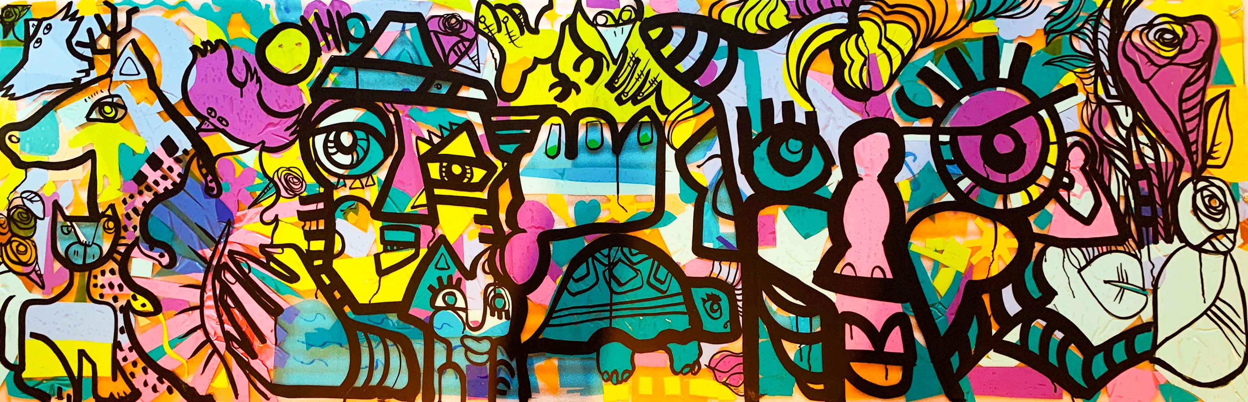 œuvre commune My Art Box par aNa artiste format Tube néon peint lors d'un Team building Jura