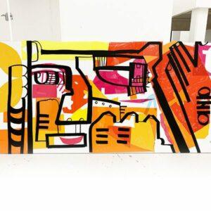 Une mini Fresque sur mesure aNa rouge orange et jaune Idée Cadeau Anniversaire