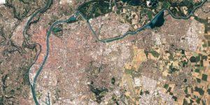 Image aérienne Google Earth du plan de base de la Métropole de Lyon pour création artistique aNa My Art Box pour Totem Box animation Fresque