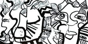Dessin noir et blanc de l'artiste aNa modèle originale de la ville de Lyon pour Animation Fresque Totem Box My Art Box