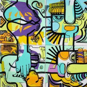 Série d'images jointes en couleur produite par l'artiste aNa pour My Art Box dans le cadre d'un kit créatif d'animation télétravail