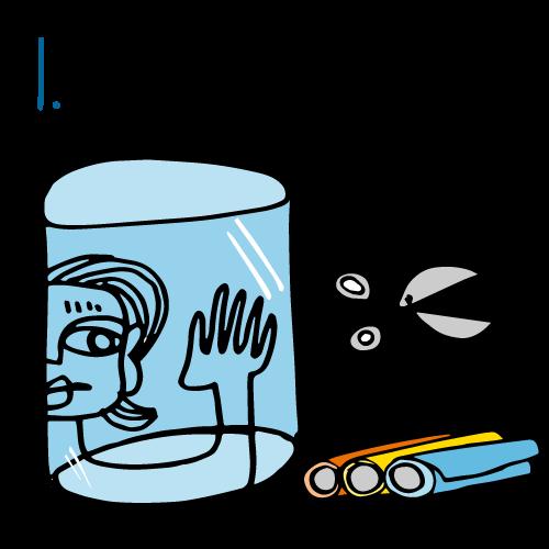Posez le cylindre sur un support plat et découpez des formes de couleurs